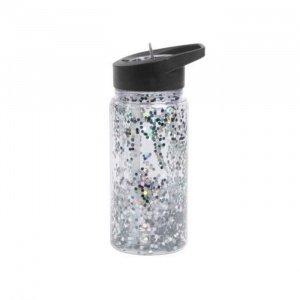 A-Little-Lovely-Company-Drink-Bottle-Glitter---Black-Silver